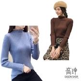 EASON SHOP(GU9938)韓版坑條紋木耳花邊拼接小高領短版毛衣羅紋針織衫女上衣服彈力貼身內搭衫咖啡色