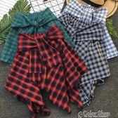 春夏ulzzang閨蜜鬆緊腰不規則格子短裙綁帶半身裙防走光裙褲color shop