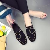 豆豆鞋黑色單鞋女春款方頭新款深口復古平底鞋子百搭豆豆奶奶鞋 可然精品