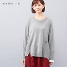a la sha+a 小圓創意拼接袖針織...
