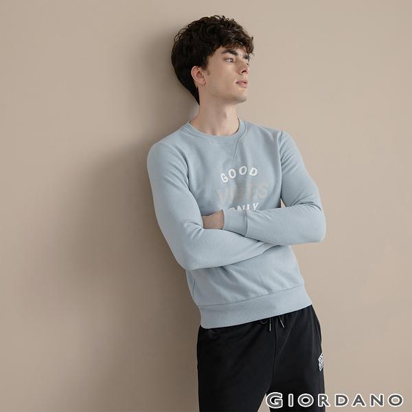 【GIORDANO】男裝CHECKS大學T恤 - 42 藍