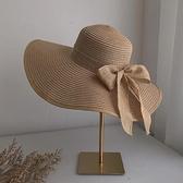 沙灘帽 防曬帽子女夏季 蝴蝶結太陽帽 海邊沙灘帽大帽檐遮陽帽大沿帽草帽-Ballet朵朵