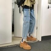 牛仔褲男ins超火的直筒秋冬款褲子網紅同款韓版潮流帥T不規則復古
