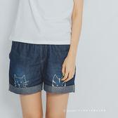 短褲   小貓刺繡反折牛仔短褲    二色原單-小C館日系