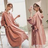 孕婦秋裝2018新款韓版寬鬆時尚款長袖上衣秋冬季孕婦洋裝中長款 嬌糖小屋
