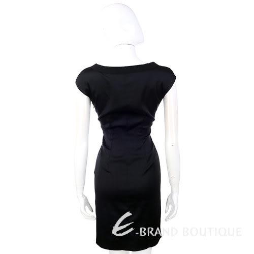 PHILOSOPHY 黑色緞面抓褶短袖洋裝 1110293-01