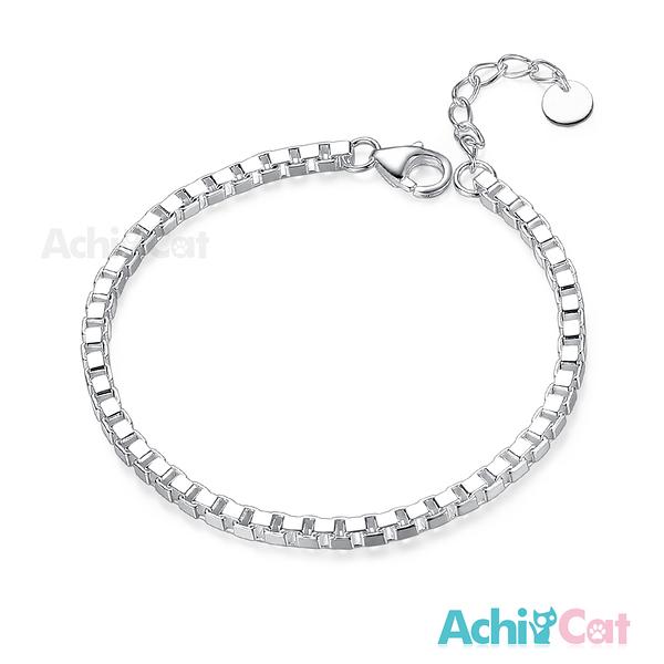 AchiCat情侶手鍊925純銀男女手鍊 浪漫時分 方格素鍊手鍊 單個價格HS7022