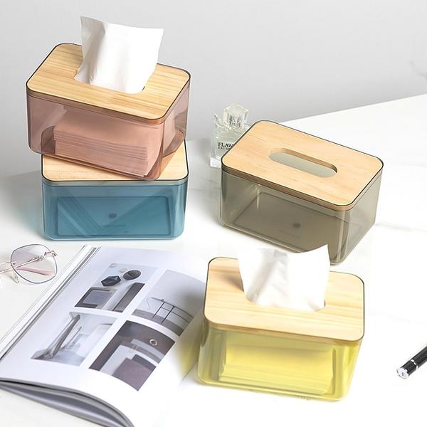 木蓋透明面紙盒 衛生紙盒 紙巾盒 面紙盒 簡約衛生紙盒 抽取式衛生紙盒 收納盒【RS1280】