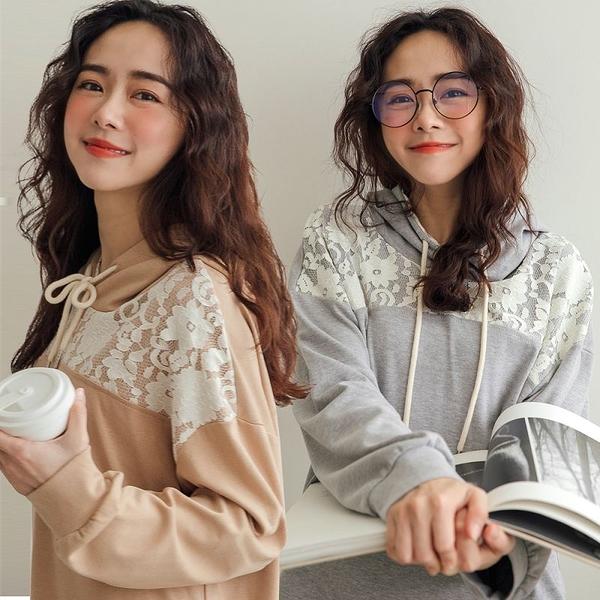 現貨-MIUSTAR 蕾絲造型抽繩連帽棉質上衣(共2色)【NH3284】