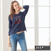 【JEEP】女裝立體LOGO刺繡長袖TEE (深藍)