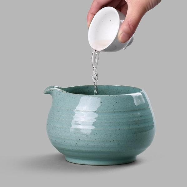 陶瓷水盂茶洗粗陶建水水洗日式茶渣桶功夫茶具配件【聚寶屋】