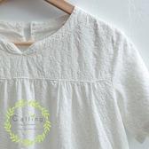 長版衫    魚尾拼接布蕾絲棉麻洋裝    二色原單-CALLING