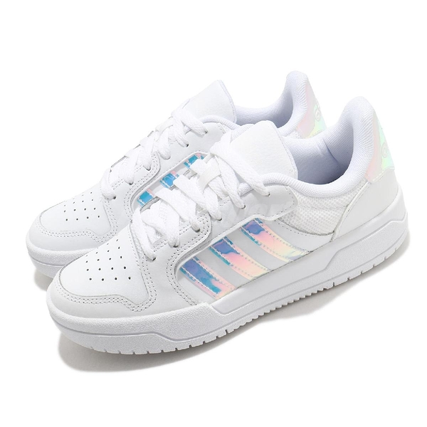 adidas 休閒鞋 Entrap 白 炫彩 彩色光澤 小白鞋 女鞋 愛迪達【ACS】 FY6017