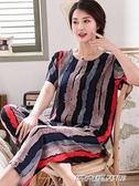 睡衣 中老年人造棉睡衣女士夏季棉綢短袖套裝綿綢媽媽裝加大碼家居服【父親節禮物】