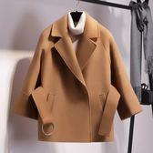 秋冬小個子毛呢外套女短款斗篷收腰呢子大衣寬鬆修身