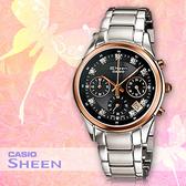 CASIO手錶專賣店 卡西歐 SHEEN SHN-5003P-1A 女錶 三眼計時 閃亮萊茵石點綴 不鏽鋼錶帶