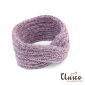 UNICO 秋冬新款保暖質感紫色馬海毛寬髮帶/髮飾