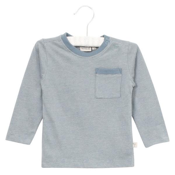 長袖上衣 Wheat 藍灰條紋肩開扣長袖上衣 F153616522