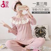 孕婦裝 MIMI別走【P21182】遇見幸福的妳 哺乳睡衣 居家坐月子 套裝