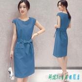 連身裙洋裝 2020夏裝新款韓版大碼修身顯瘦中長款棉麻透氣無袖收腰女潮 OO12007『科炫3C』