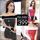 克妹Ke-Mei【ZT50608】korea韓國小清新復古排釦併接直紋露肩洋裝