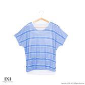 【INI】透氣涼感、條紋配色休閒品味假兩件上衣.水藍色