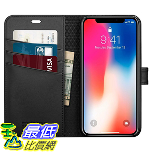 [9美國直購] 手機保護套 Spigen Wallet S Card Pocket Kickstand Leather Foldable Cover iPhone XS X Case