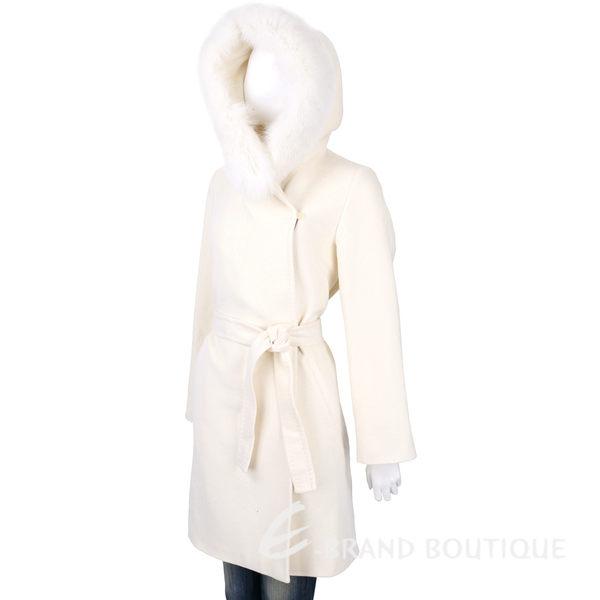 Max Mara 米白色皮草飾邊連帽羊毛大衣(附綁帶) 1540482-03