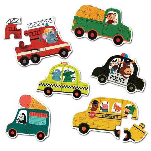 Jigsaw 益智六合一盒裝大塊拼圖-交通工具