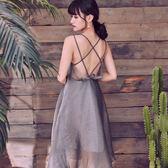 VK精品服飾 韓國風名媛氣質性感露背吊帶亮絲歐根紗無袖洋裝