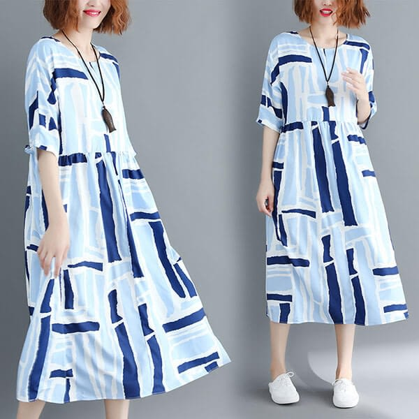 清爽藍色系方塊洋裝-中大尺碼 獨具衣格