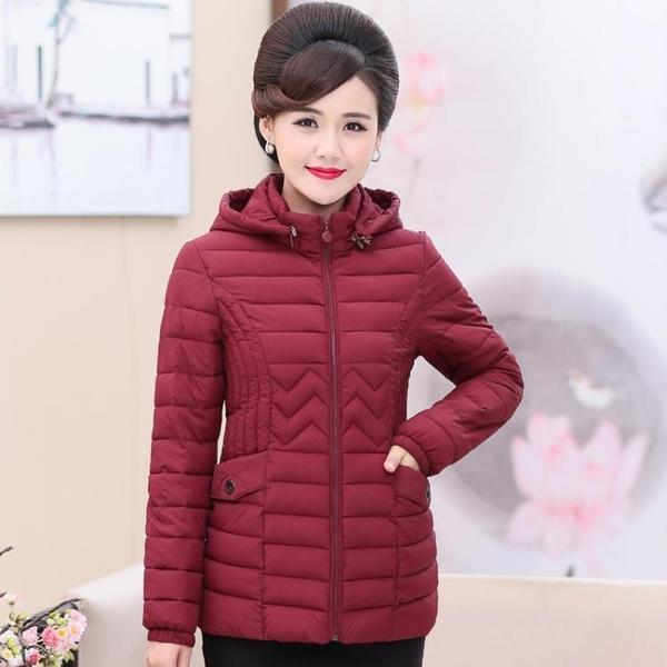 媽媽秋裝輕薄羽絨服外套中年女冬裝短款小棉襖中老年洋氣上衣長袖