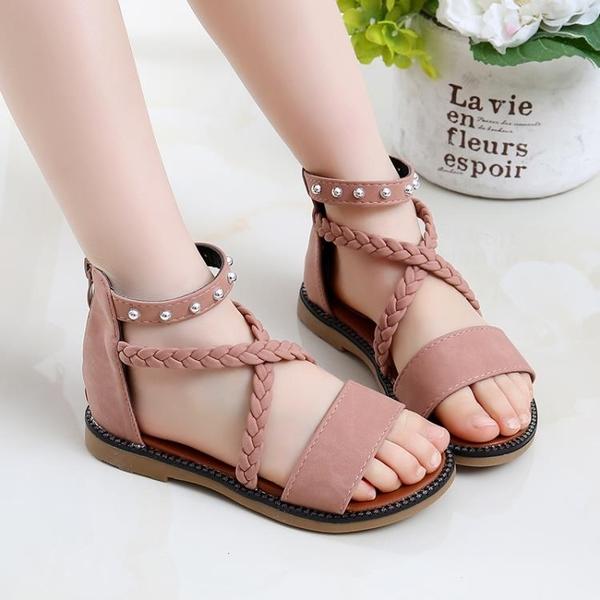 兒童涼鞋 女童涼鞋夏季2020新款韓版兒童羅馬鞋軟底學生公主鞋小女孩沙灘鞋 茱莉亞