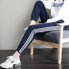 運動褲子女寬鬆束腳秋冬裝2020年新款顯瘦百搭藍色ins工裝休閒褲 蘿莉新品