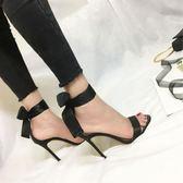 涼鞋 系帶高跟鞋細跟性感露趾蝴蝶結一字綁帶高跟涼鞋 巴黎春天