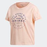 Adidas EMBLEM TEE [DJ1604] 女 運動 休閒 圓領 短袖 上衣 舒適 棉T 愛迪達 粉橘