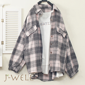 J-WELL 落肩格紋襯衫手縫趣味MATCH長薄T二件組(組合A580 7J2110白+9J1022粉格)