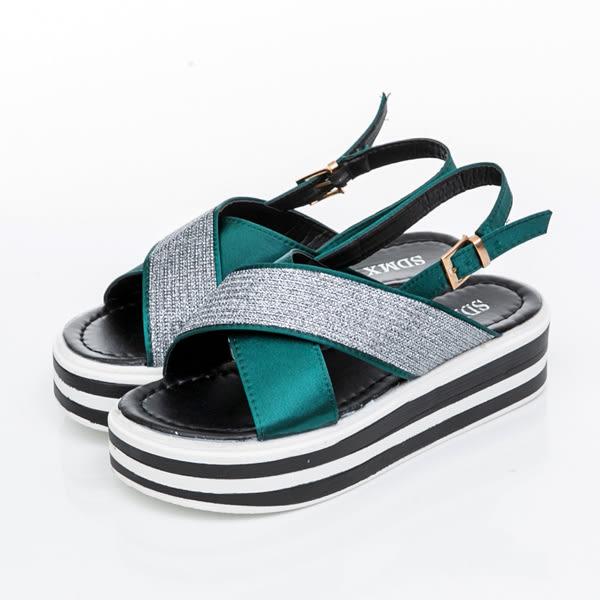 涼鞋-寬帶交叉個性厚底涼鞋