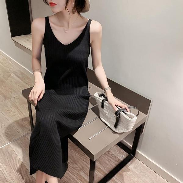 2021春秋新款針織吊帶洋裝女背心長裙中長款黑色內搭打底裙修身【快速出貨】