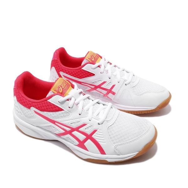 Asics 排球鞋 Upcourt 3 白 粉紅 膠底 低筒 女鞋 排羽球鞋 【ACS】 1072A012104