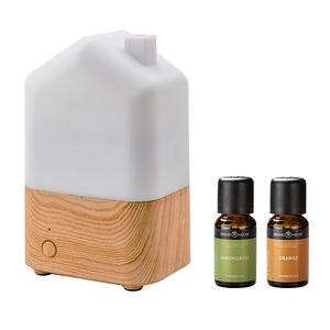 (組)日荷暖光香氛水氧機x1+SERENE HOUSE美國精油-甜橙x1+香茅x1