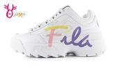 FILA DISRUPTOR 2 SCRIPT 鋸齒鞋 韓版 成人女款 草寫復古老爹鞋 厚底運動鞋 D9931#白色◆OSOME奧森鞋業