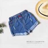 紅釦刷破反摺造型牛仔短褲 休閒 牛仔 短褲 女童 美式 抓破 反摺 哎北比童裝