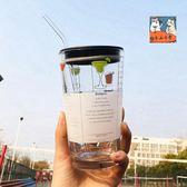 彩色大容量玻璃杯冬季家用牛奶燕麥早餐杯耐熱水杯多刻度烘焙量杯