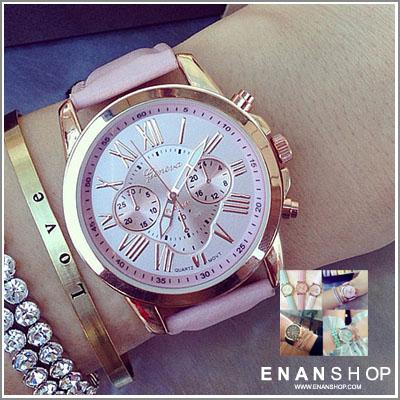 惡南宅急店【0532F】韓版手錶Geneva日內瓦經典三眼 羅馬雙眼皮帶錶 女錶 男錶情侶錶對錶