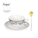 送禮首選: 葡萄牙Cutipol-粉金咖啡匙+英國Spode-200ml杯盤組-黑禮盒裝