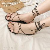 綁帶涼鞋涼鞋女夏平底韓國學生百搭低筒露趾休閒鞋「千千女鞋」