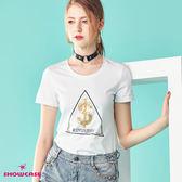 【SHOWCASE】休閒圓領三角亮片問號百搭棉質T恤(白色)