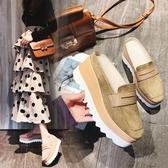 厚底半拖鞋包頭拖鞋半拖厚底鬆糕跟中跟女鞋磨砂休閒鞋室外穿女鞋2020春夏款 衣間迷你屋