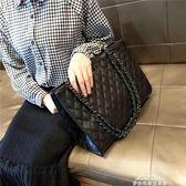 包包女新款潮簡約大氣手提包百搭斜背包大容量菱格錬條包『夢娜麗莎精品館』